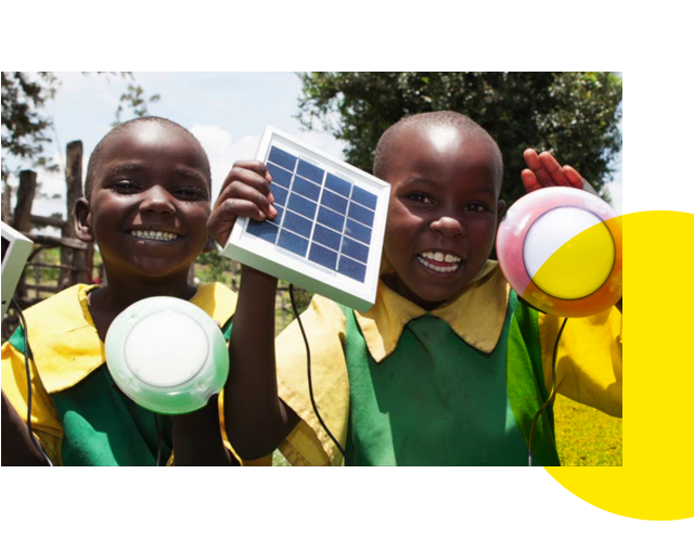Nigerian schoolchildren with solar lights